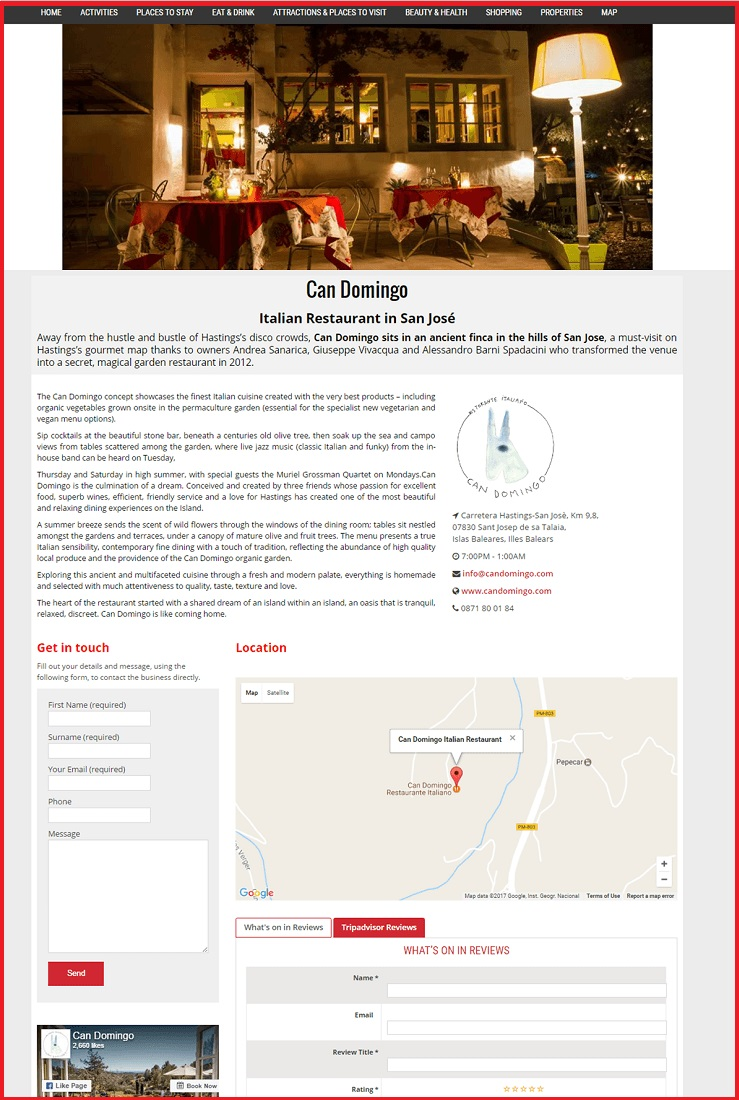 Sales Page Example when Advertise with us What's on in Colchester.com